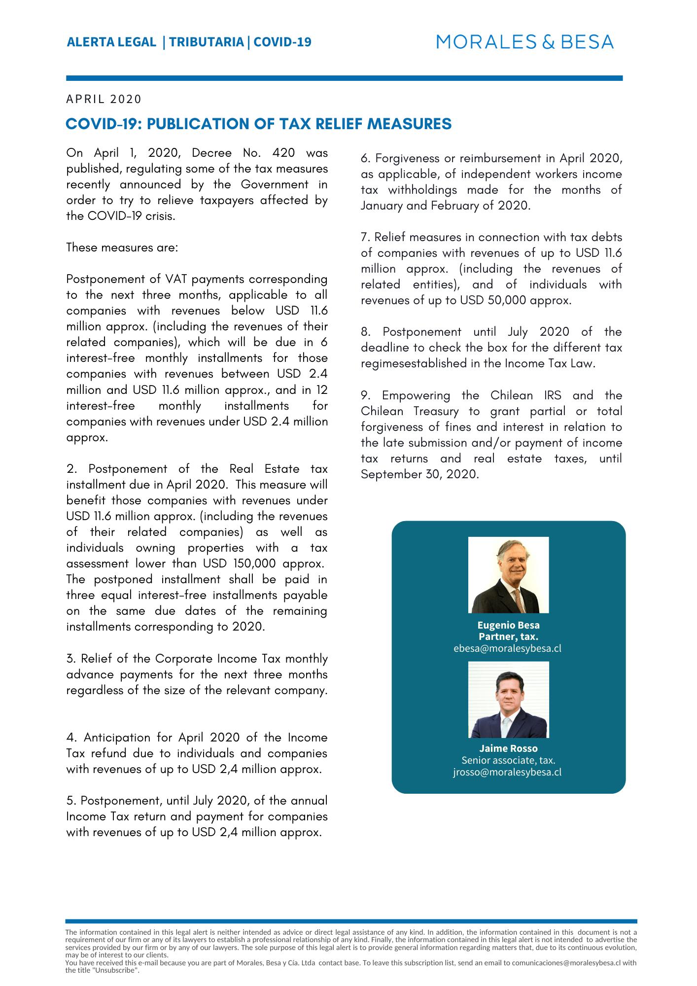 M&B Legal Alert - Tax - Covid19 - April2020