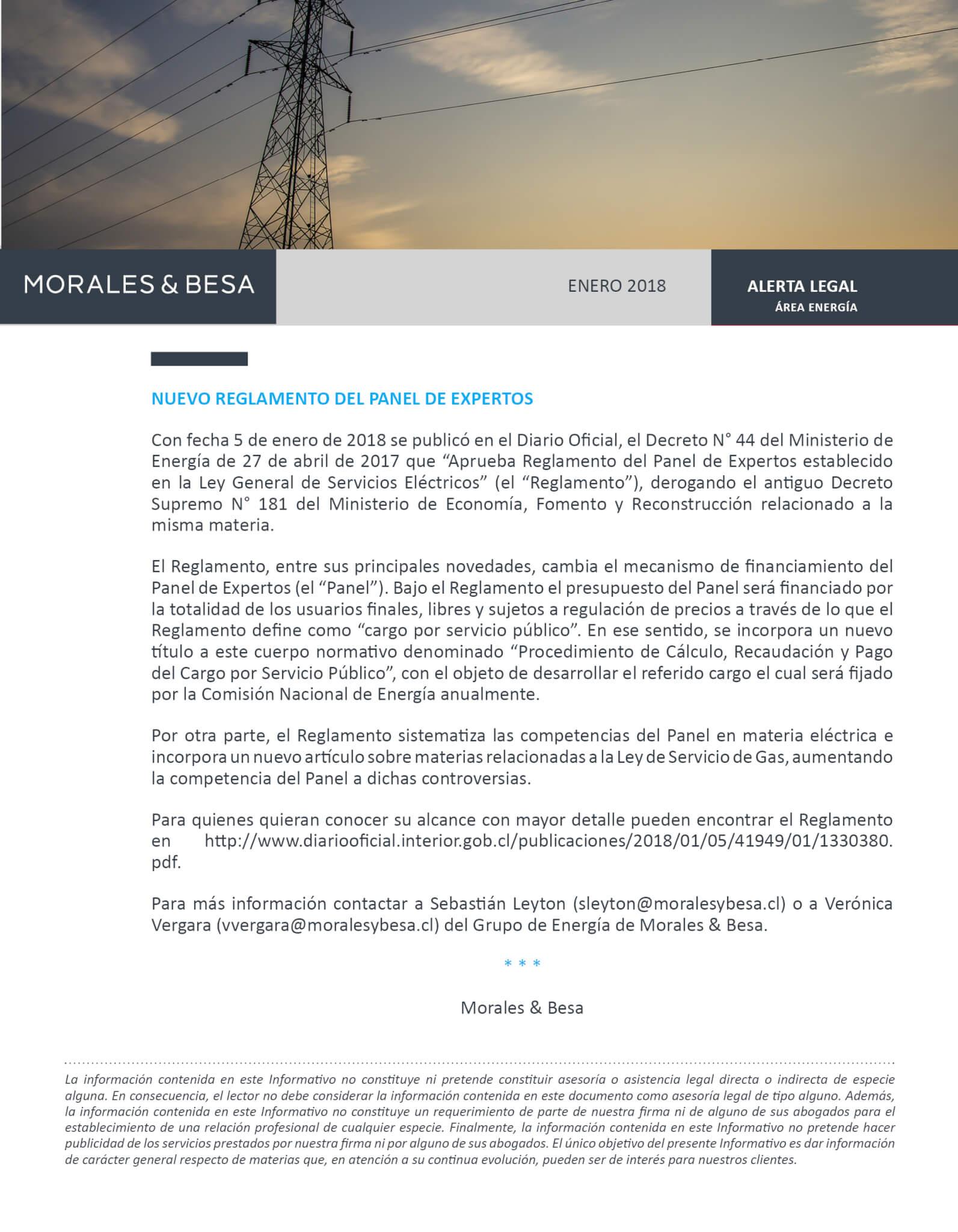 Morales & Besa_Alerta Legal_Energía_Panel de Expertos_Enero 2018