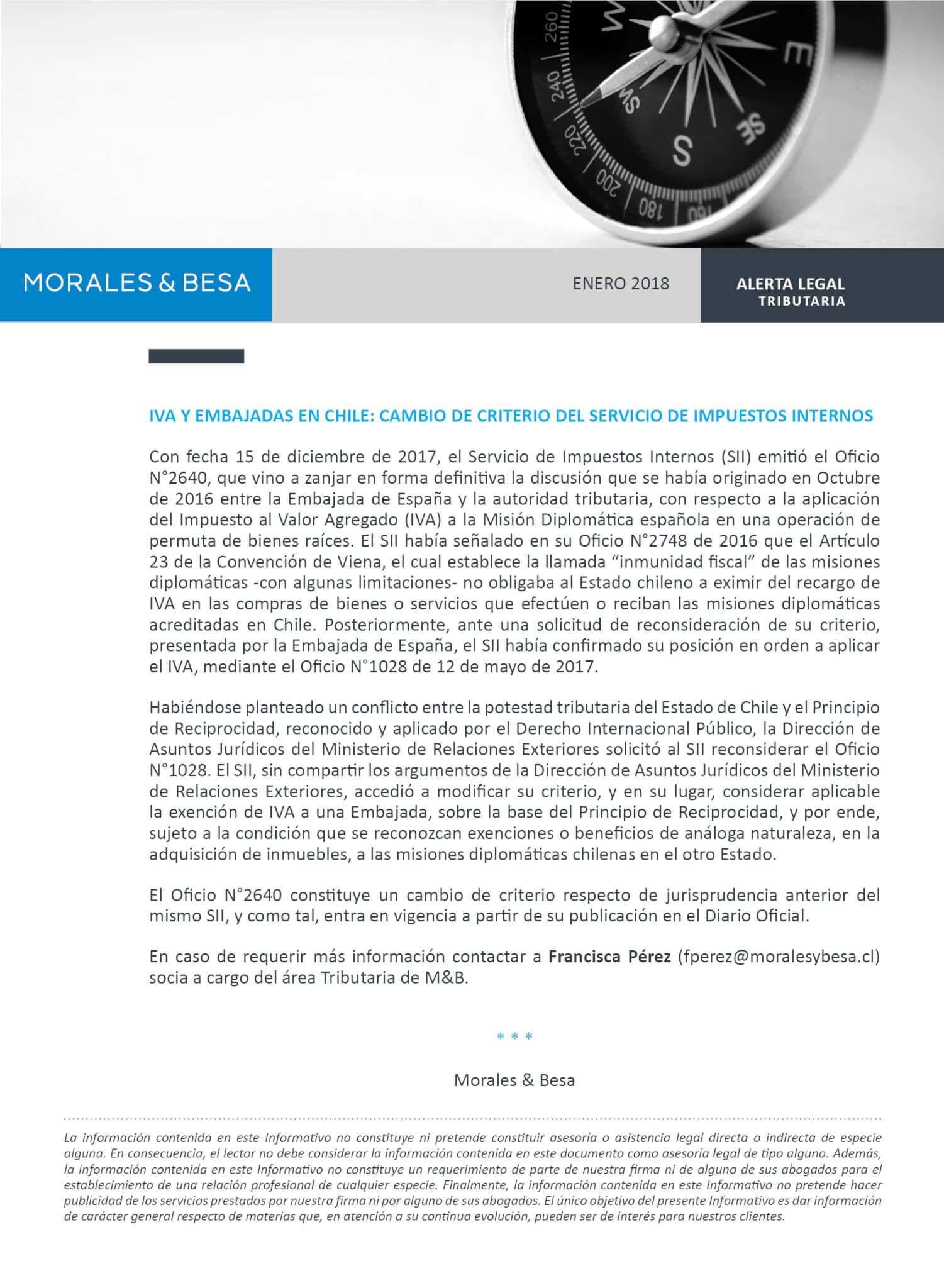 Morales & Besa_Alerta Legal_IVA Embajadas_Enero 2018