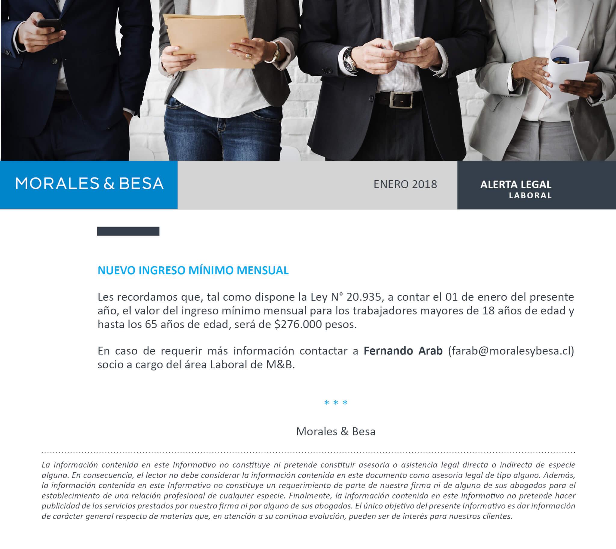 Morales & Besa_Alerta Legal_Laboral_Salario Mínimo_Enero 2018