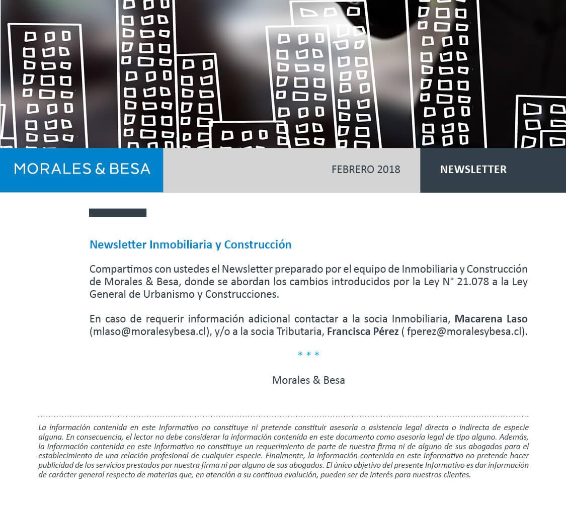 Morales & Besa_presentación de Newsletter Inmobiliaria y Construcción Febrero 2018
