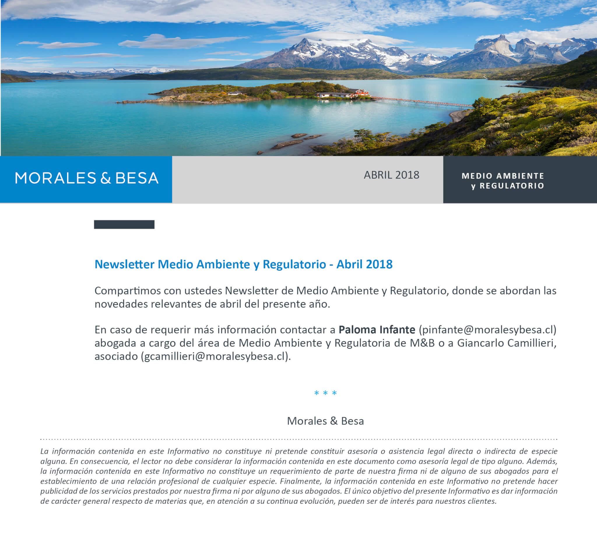 Morales & Besa_presentación de Newsletter Medio Ambiente Abril 2018