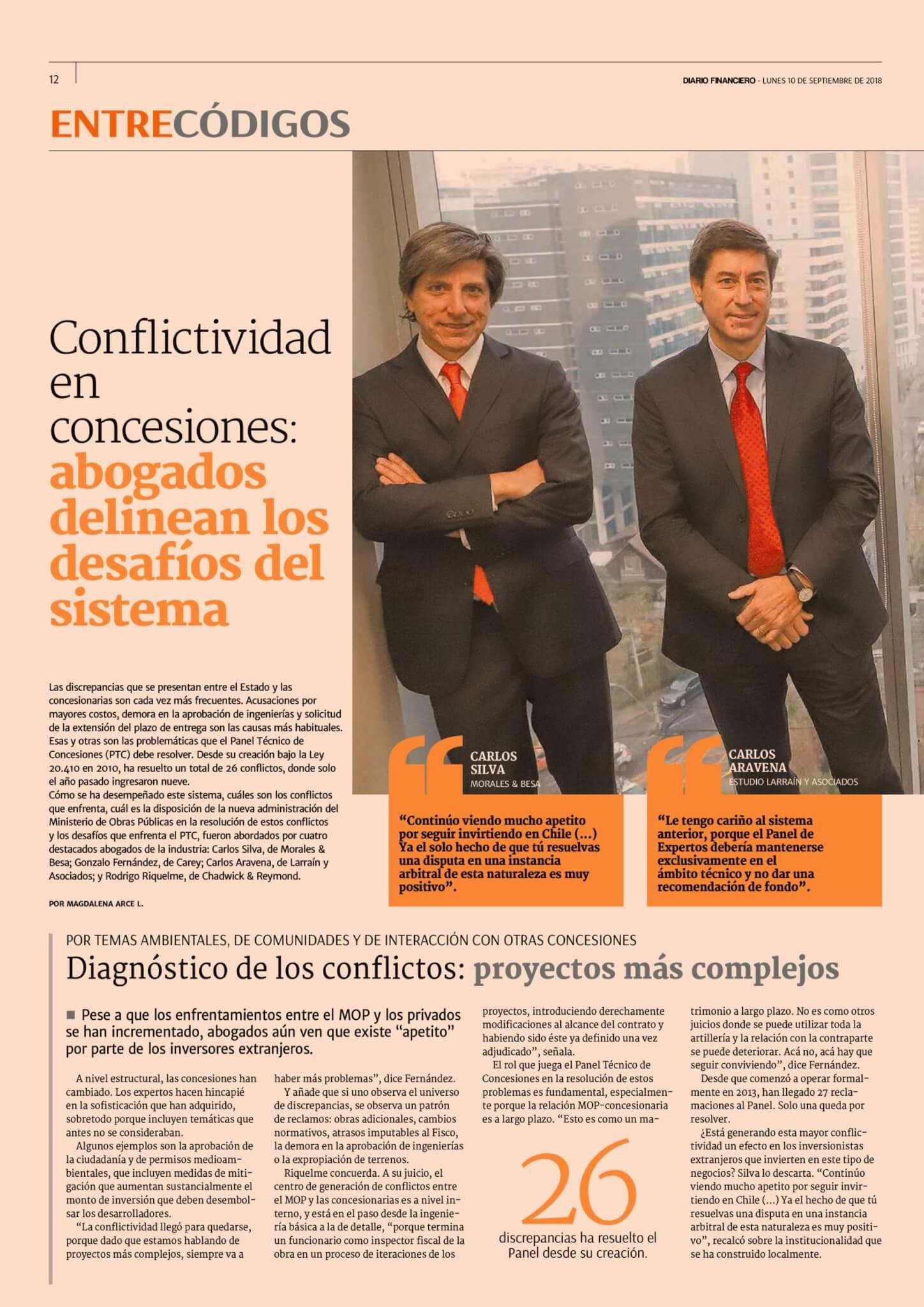 Diario Financiero Entre Códigos - Conflictividad en concesiones abogados delinean los desafíos del sistema - 10092018