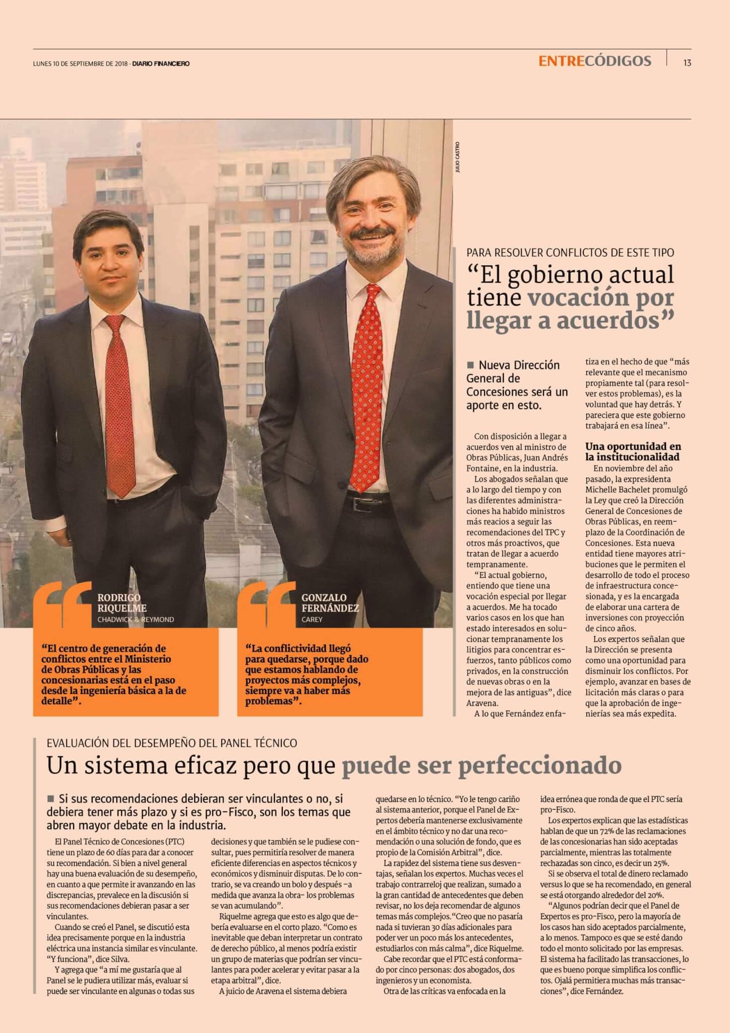 Diario Financiero Entre Códigos - II Conflictividad en concesiones abogados delinean los desafíos del sistema - 10092018