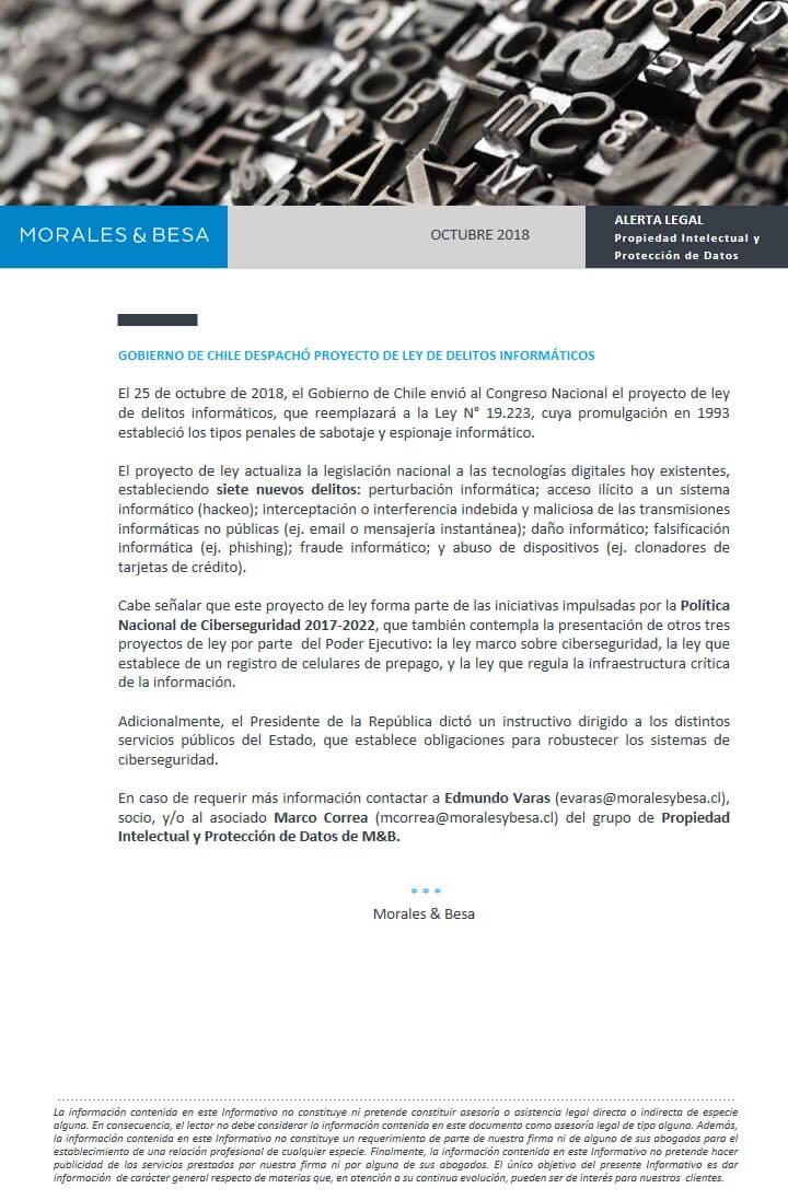 Alerta Legal - Propiedad Intelectual - octubre 2018