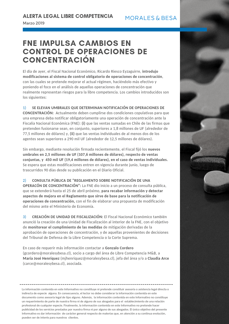 Alerta Legal Libre Competencia - Marzo 2019