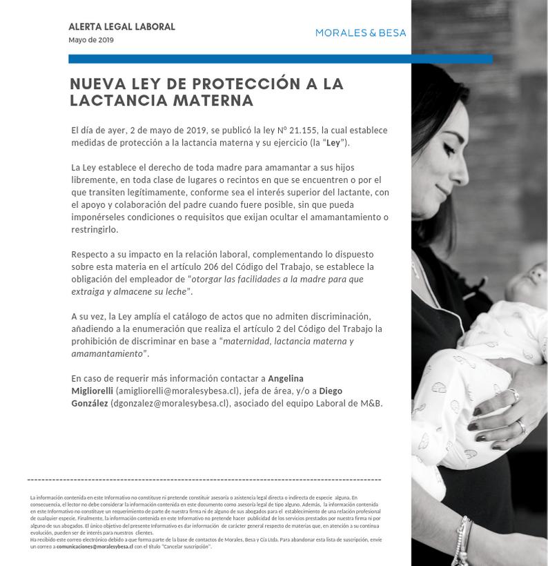 Alerta Legal Laboral - Nueva Ley de Protección a la Lactancia Materna - Mayo 2019