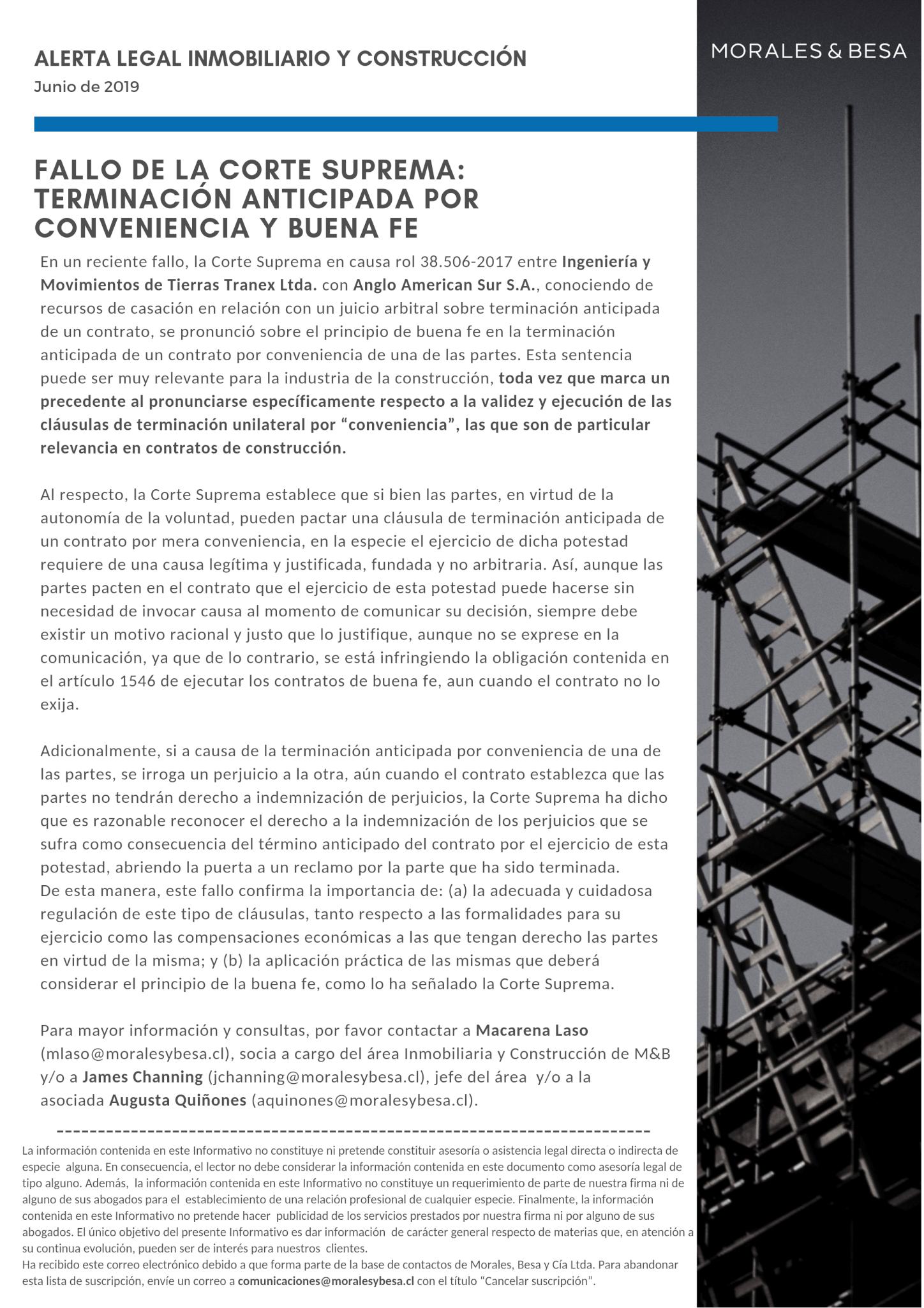 Alerta Legal M&B - Inmobiliario y Construcción - Junio 2019
