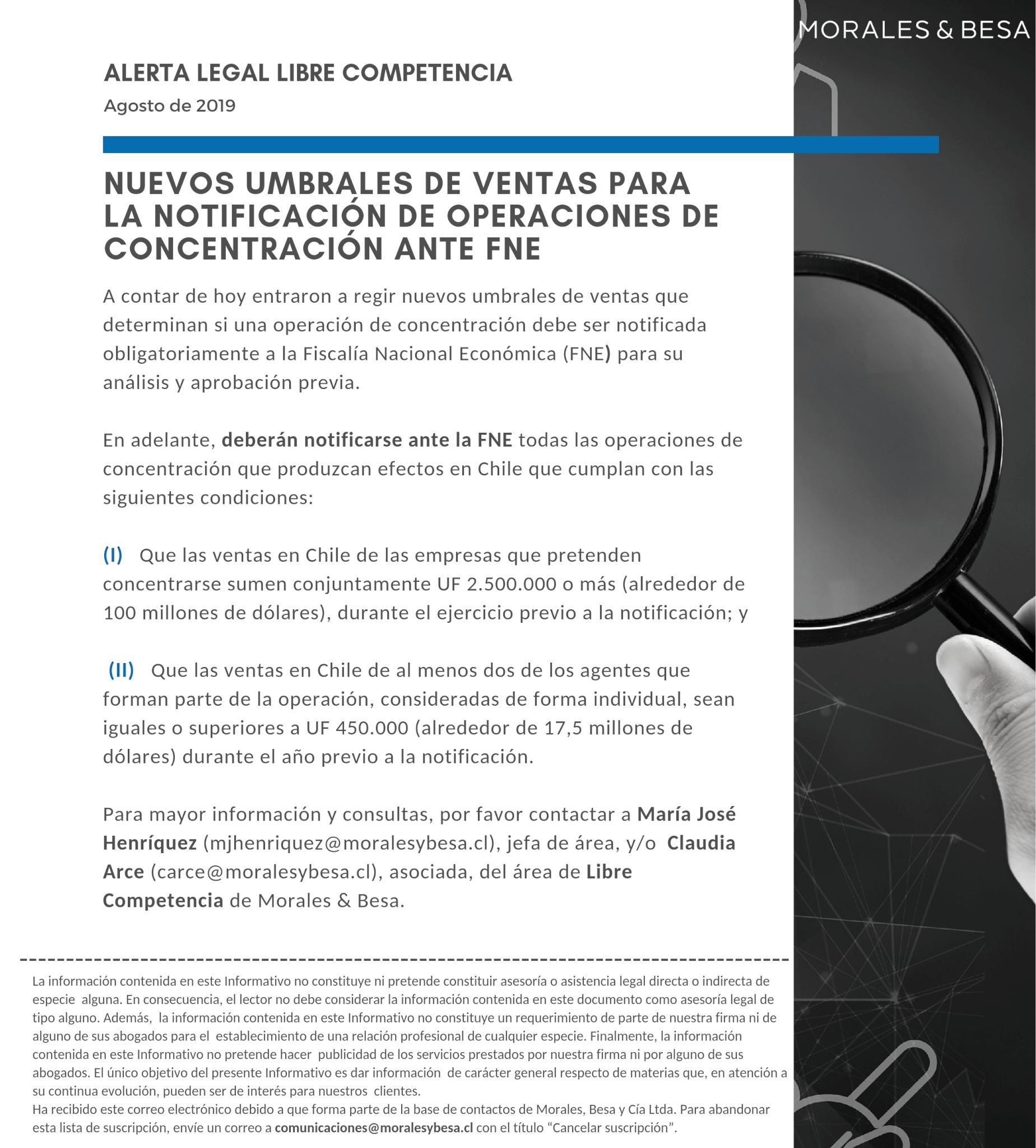 Alerta Legal Libre Competencia - Agosto de 2019
