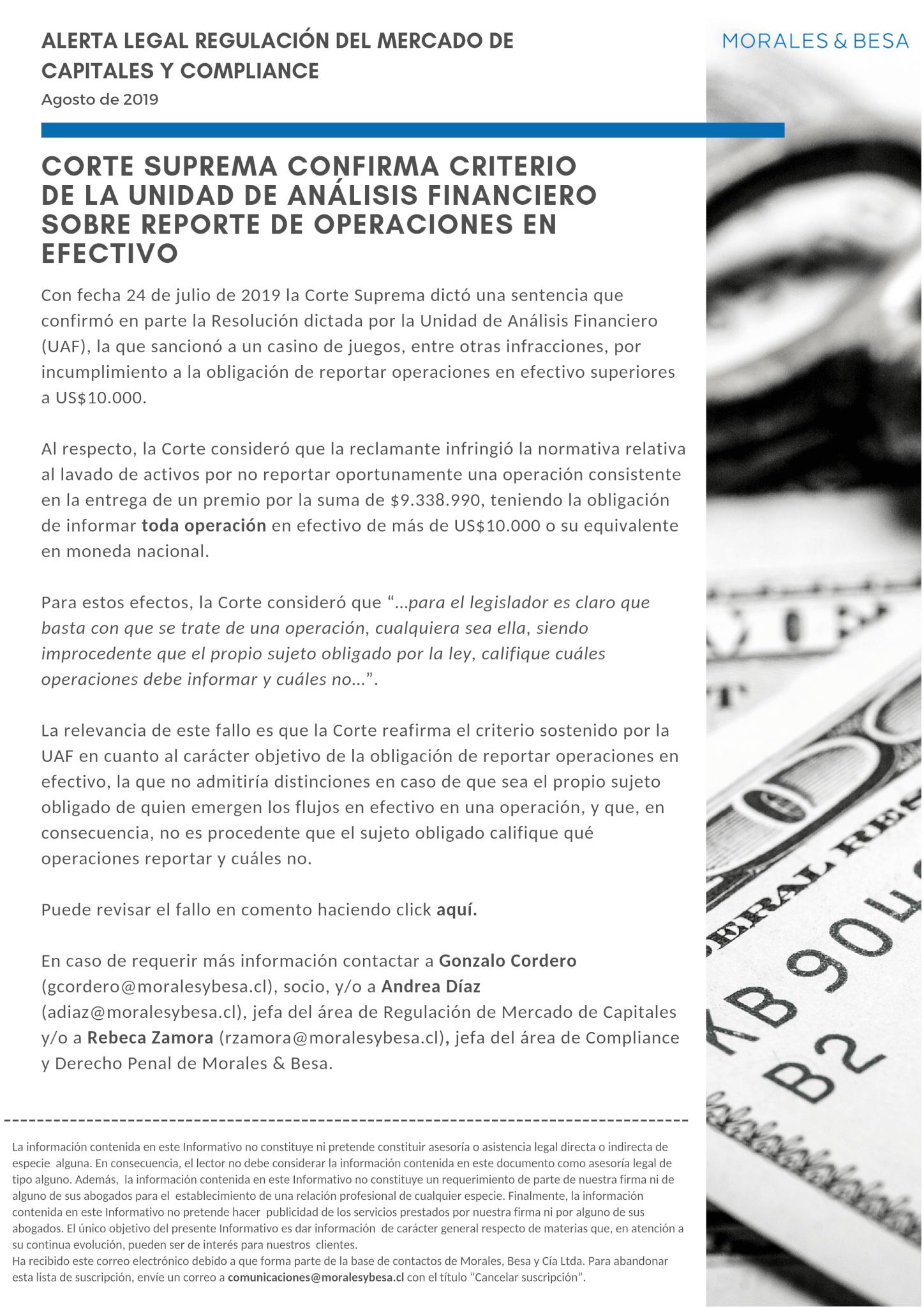 Alerta legal M&B - Agosto de 2019