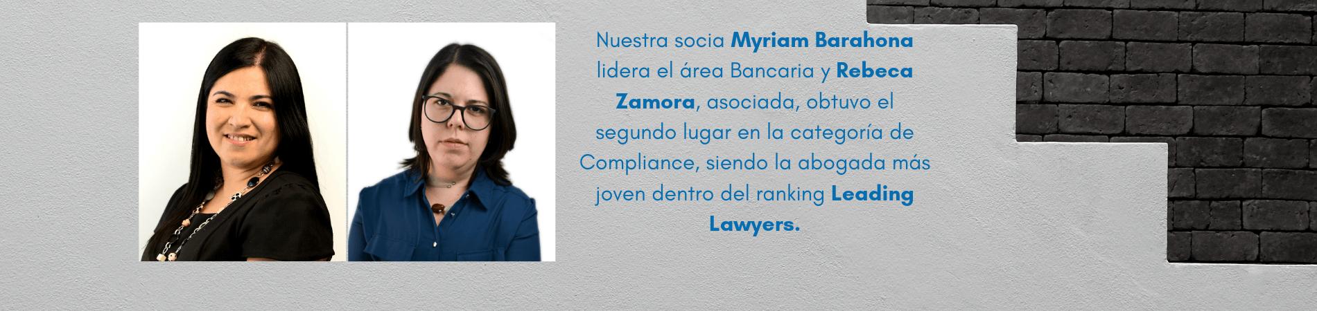 Myriam Barahona y Rebeca Zamora reconocidas como abogadas líderes en la sexta edición de Leading Lawyers de Idealis Legal Recruitment