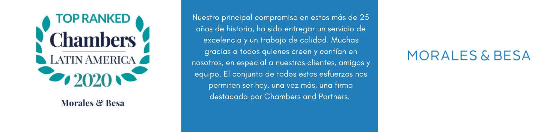 Morales & Besa destacado por Chambers & Partners Latam 2020