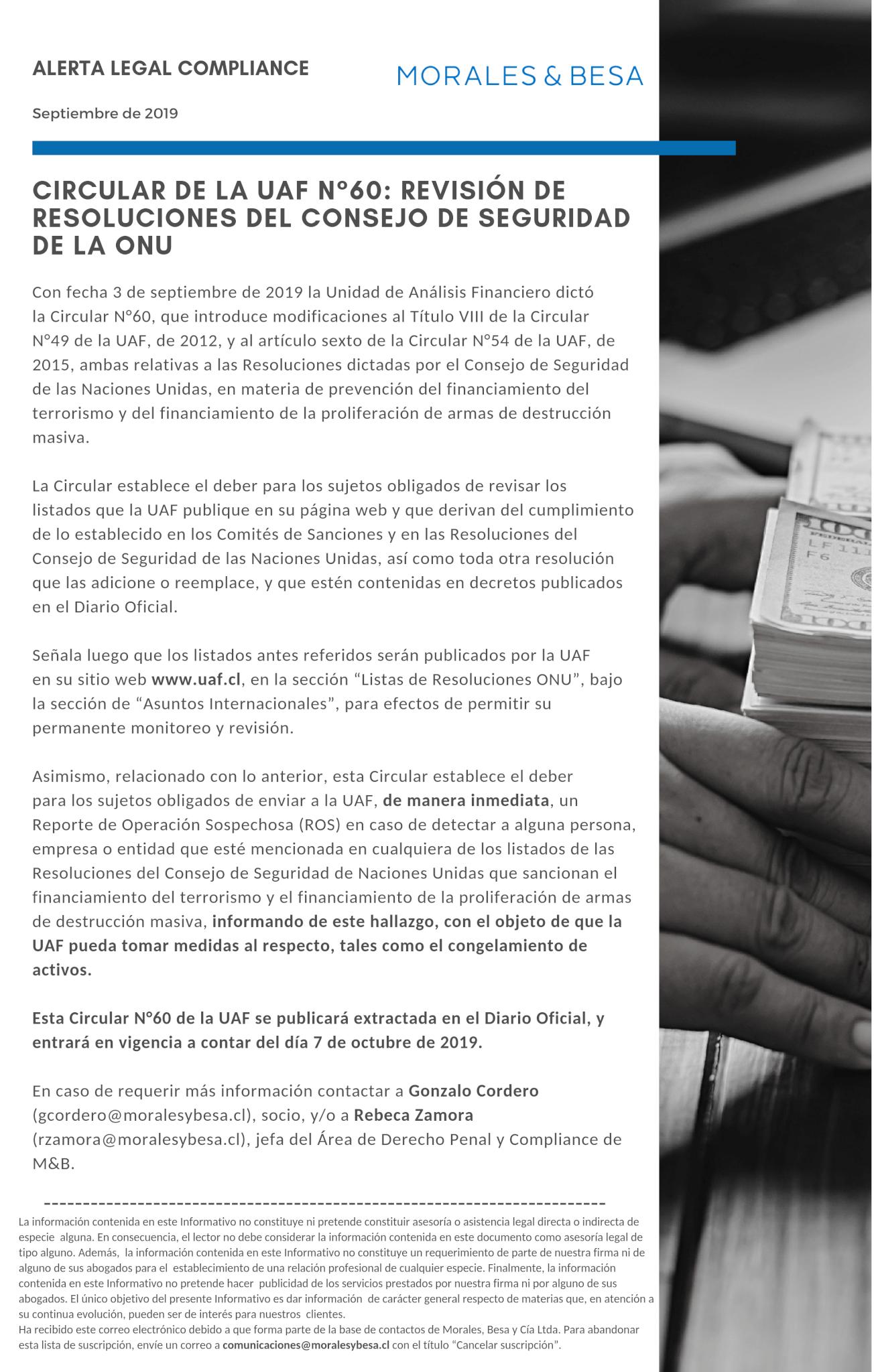 Alerta Legal M&B - Compliance - Septiembre 2019
