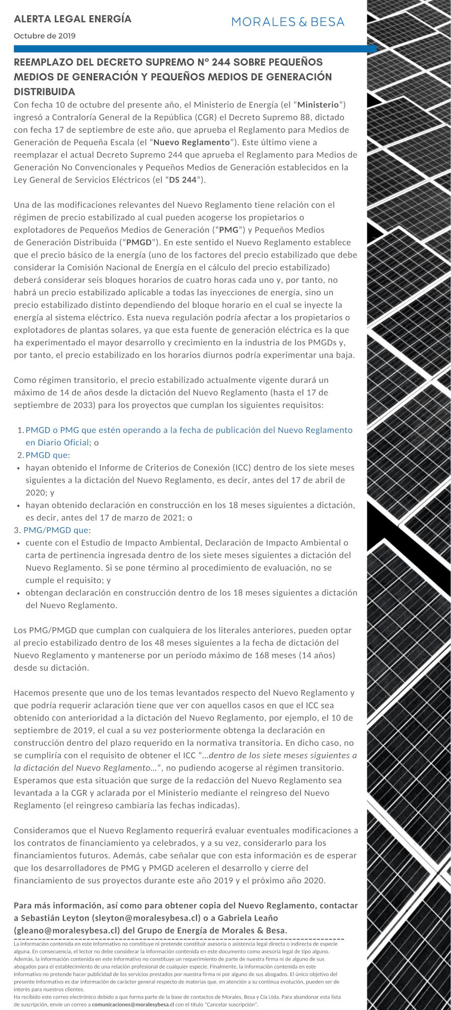 Alerta Legal M&B Energía - Octubre 2019