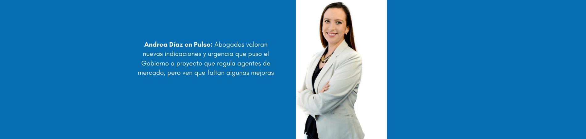 Andrea Díaz en Pulso – Abogados valoran nuevas indicaciones y urgencia que puso el gobierno a proyecto que regula agentes de mercado, pero ven que faltan algunas mejoras