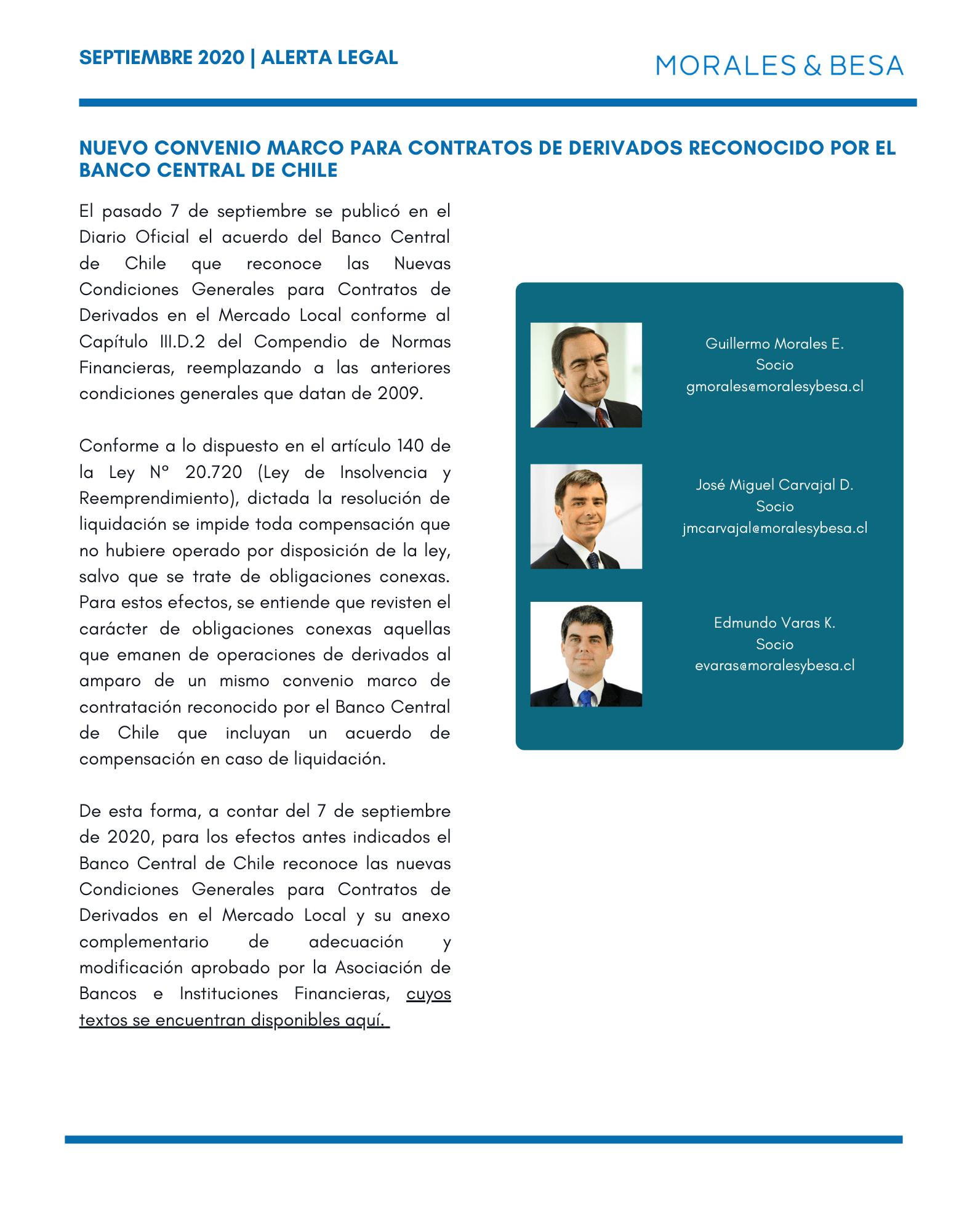 Alerta Legal - Nuevo convenio marco para contratos de derivados