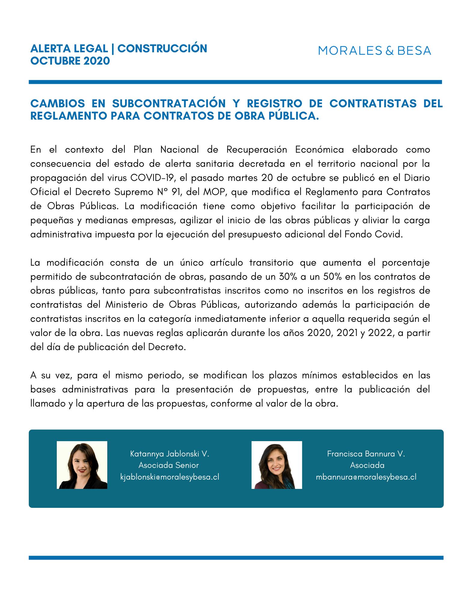 Alerta Legal M&B - Construcción - Octubre 2020