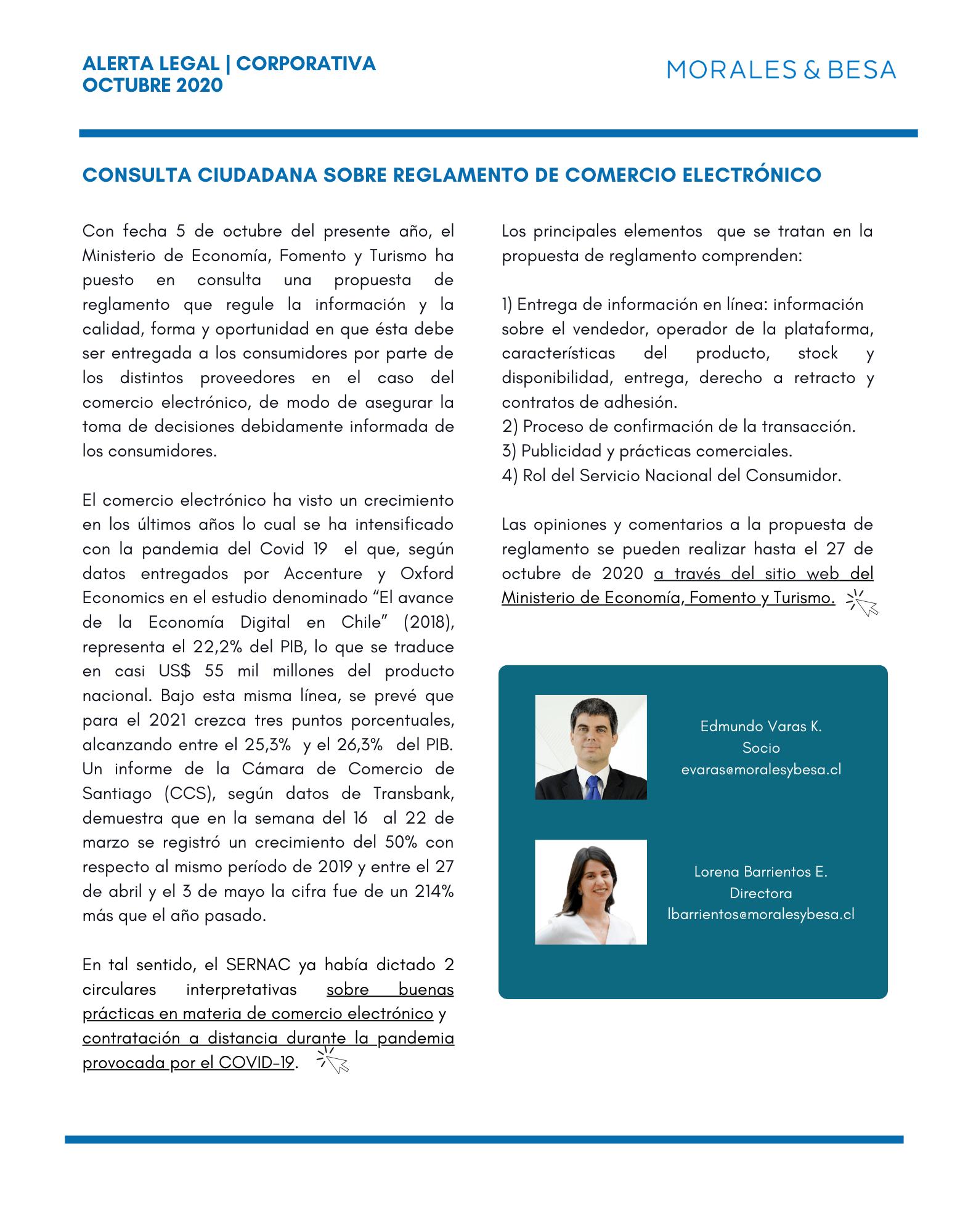 Alerta Legal M&B - Consulta ciudadana Reglamento de comercio electrónico