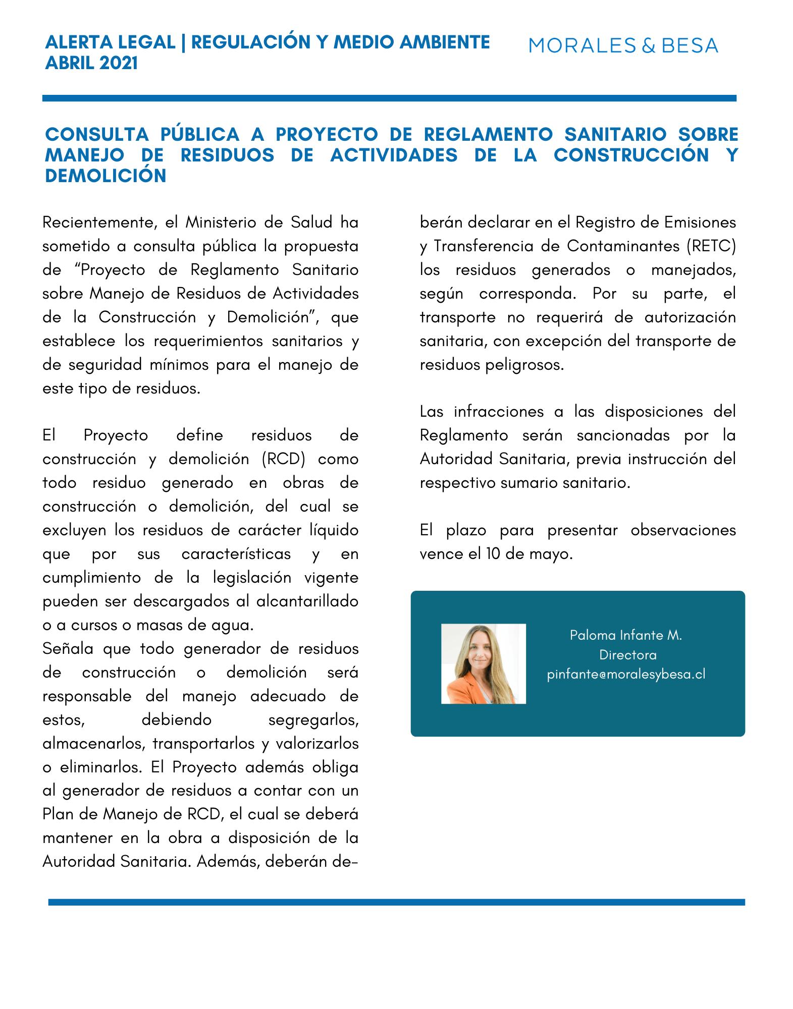 Alerta Legal M&B - Consulta Pública a proyecto de Reglamento Sanitario sobre manejo de residuos de actividades de la construcción y demolición - Abril 2021