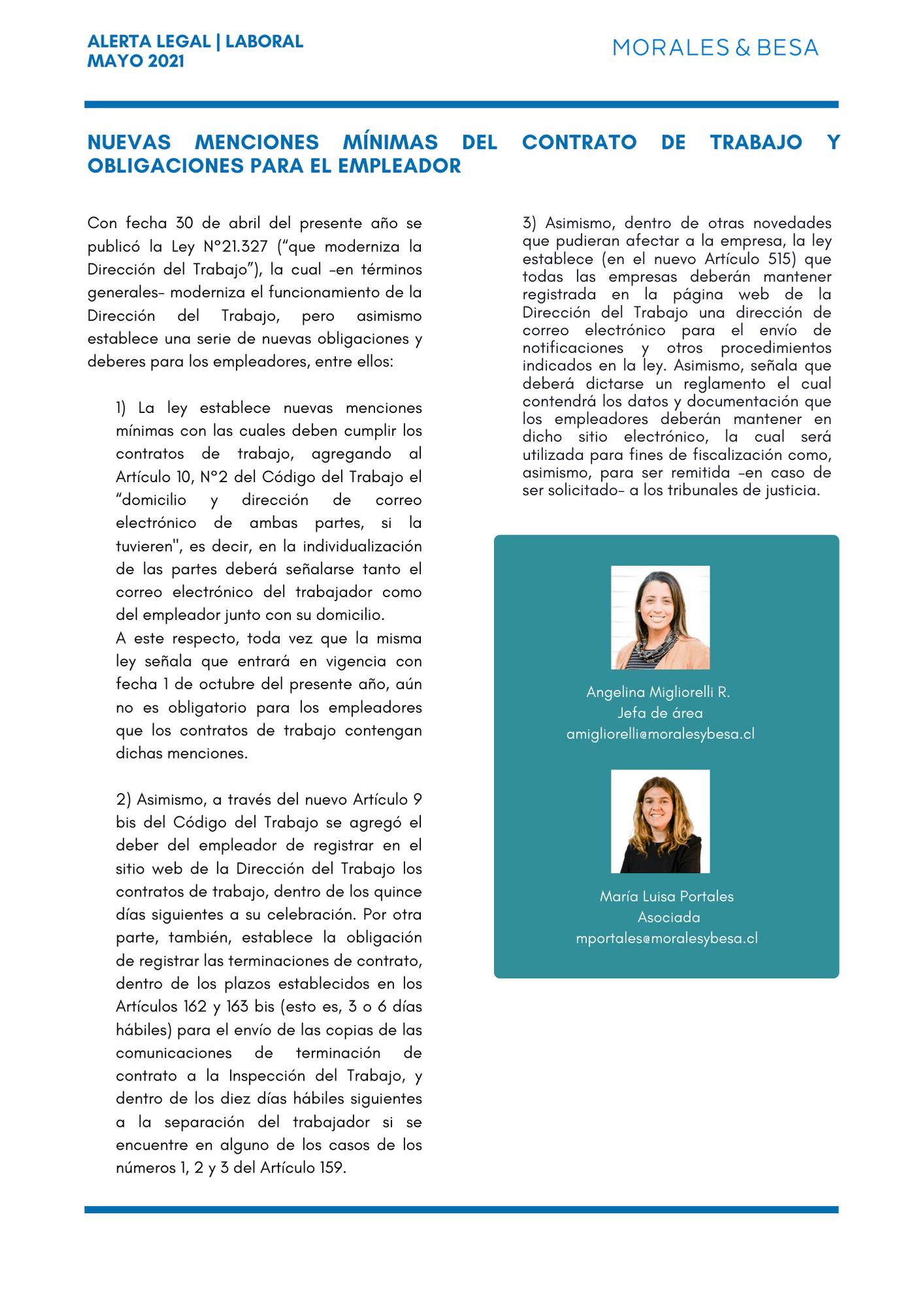 Alerta Legal M&B - Laboral - Mayo 2021